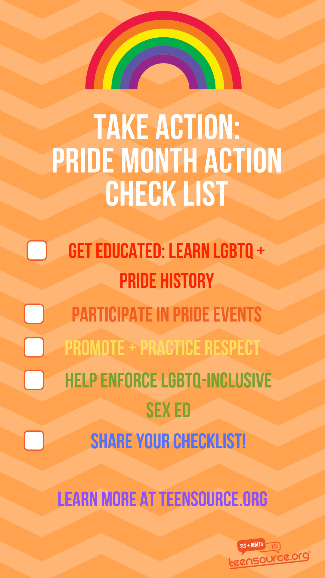Take Action: Pride Month Action Check List